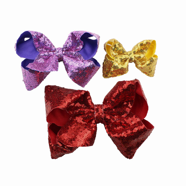 8 inch Jumbo Sequin Rainbow Bow Hair Clip For Girls Kids Boutique Knot Girl Hairbow Glitter Hairgrips Baby Hair Accessories (2)