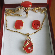 wholesale choker jewelry sets for women anime Fine Natural Fashion pink green white red opal necklace Pendant Earring Ring set