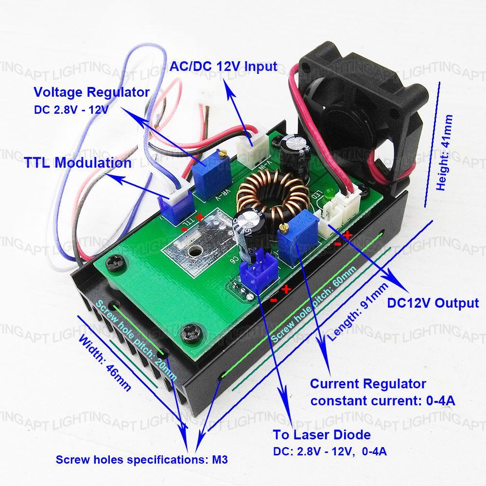 Controlador láser cabezal láser 532nm placa 650nm 450nm 200mW 500mw - Iluminación comercial - foto 2