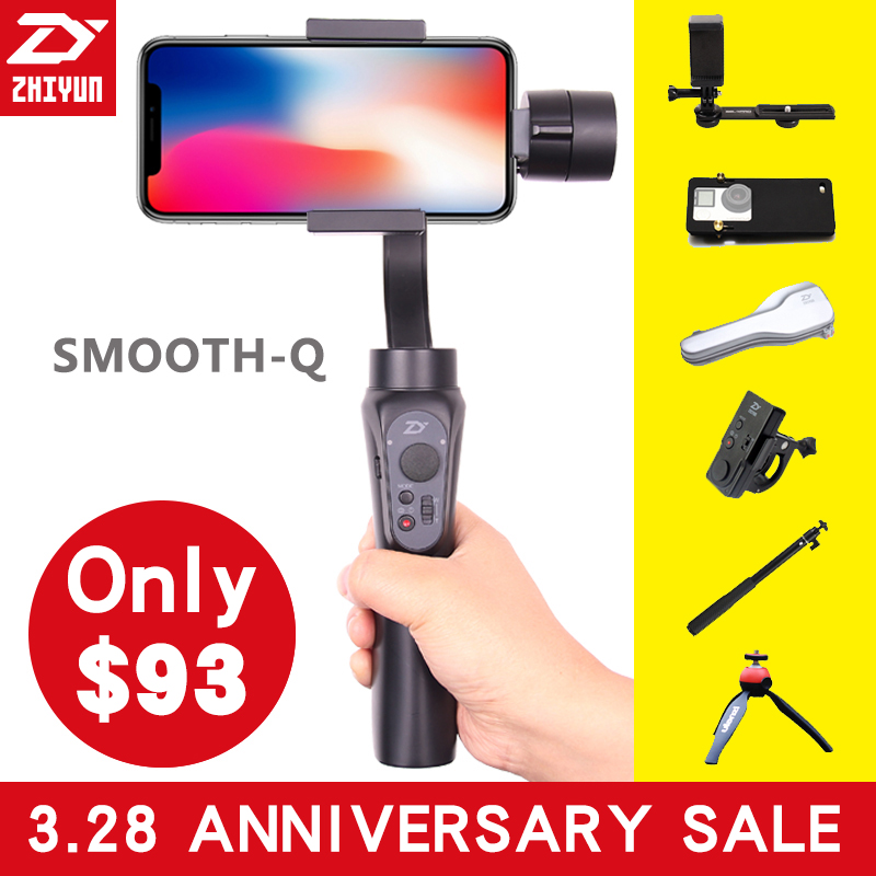 Zhi Yun Zhiyun Smooth Q Gimbal 3-Axis Brushless Handheld phone Stabilizer for iPhone X 8 Xiaomi /Gopro 5 4/SJCAM YI CAM Smooth Q 2 axis smartphone handheld stabilizer mobile phone brushless gimbal with bluetooth for iphone for samsung for xiaomi for huawei