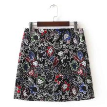 c1d68d86b7b0 FIRSTTO Vintage Ethnic 3D Flower Print Embroidery Mesh Lace High Waist Back  Zipper Stylish Women Short