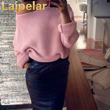 Laipelar 2018 sexy off shoulder autumn/winter sweater solid warm pullover women long sleeve casual knit pull femme