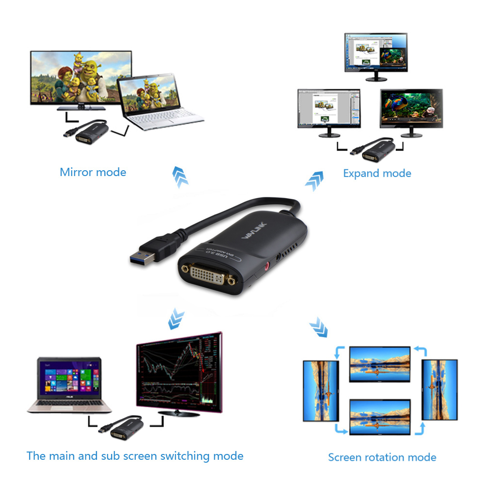 Wavlink USB 3.0 to DVI Արտաքին վիդեո քարտեր Video - Համակարգչային մալուխներ և միակցիչներ - Լուսանկար 3
