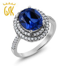 GemStoneKing Vogue Luxurious Engagement Jewellery Four.60 Ct Oval Blue Simulated Sapphire 925 Sterling Silver Rings For Ladies
