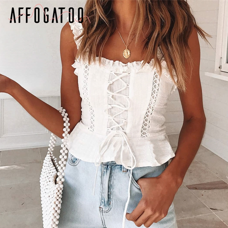 Affogatoo Sexy vintage ruffle lace up cami blouse women Sleeveless cotton camisole   tank     top   Female strap summer peplum   tops   2019