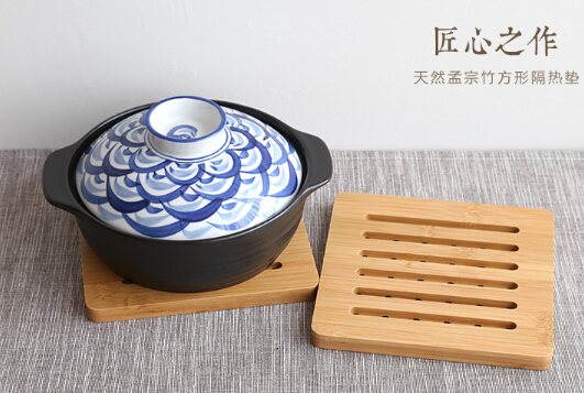 Free Shipping Fashion Kitchenthickening Dining Table Bamboo Mat Wooden Bowl Holder Anti Hot Pad