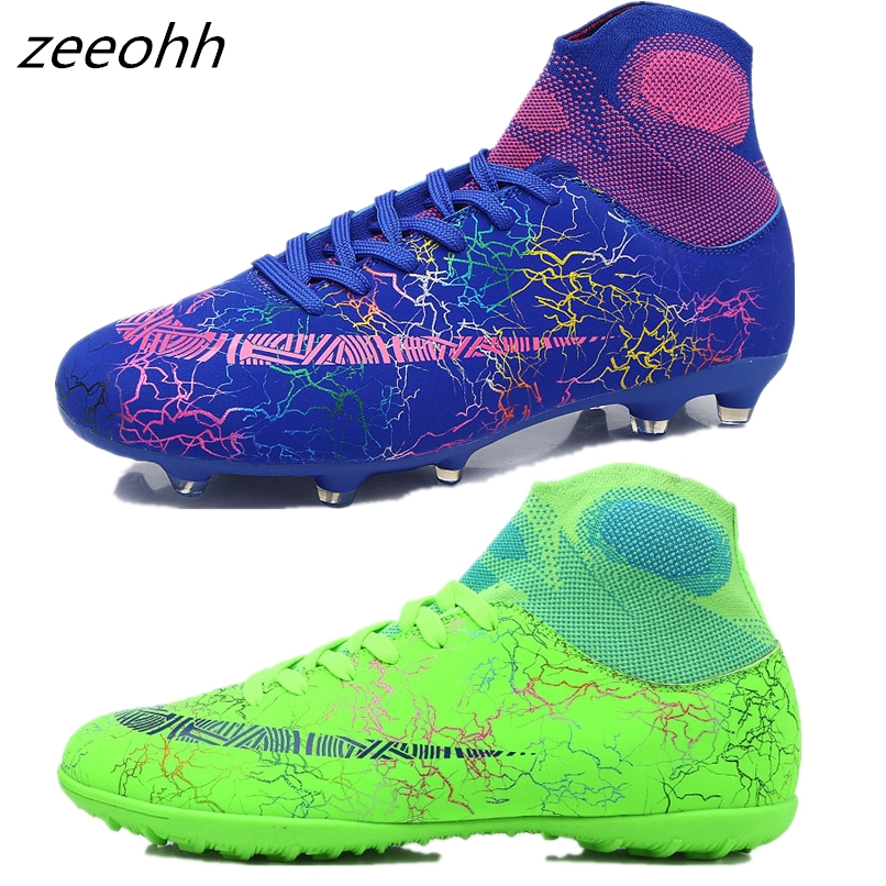 Zeeohh High Top Soccer Cleats Shoes TF/FG Football Boots Long Spikes & Short Spikes Men's Ankle Football Shoes Sneakers Shoes AG(China)