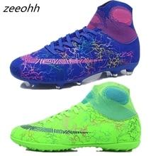 Zeeohh высокие футбольные бутсы TF/футбольные бутсы для твёрдой площадки длинные шипы и короткие шипы для Мужчин Лодыжки Футбол обувь, кроссовки AG