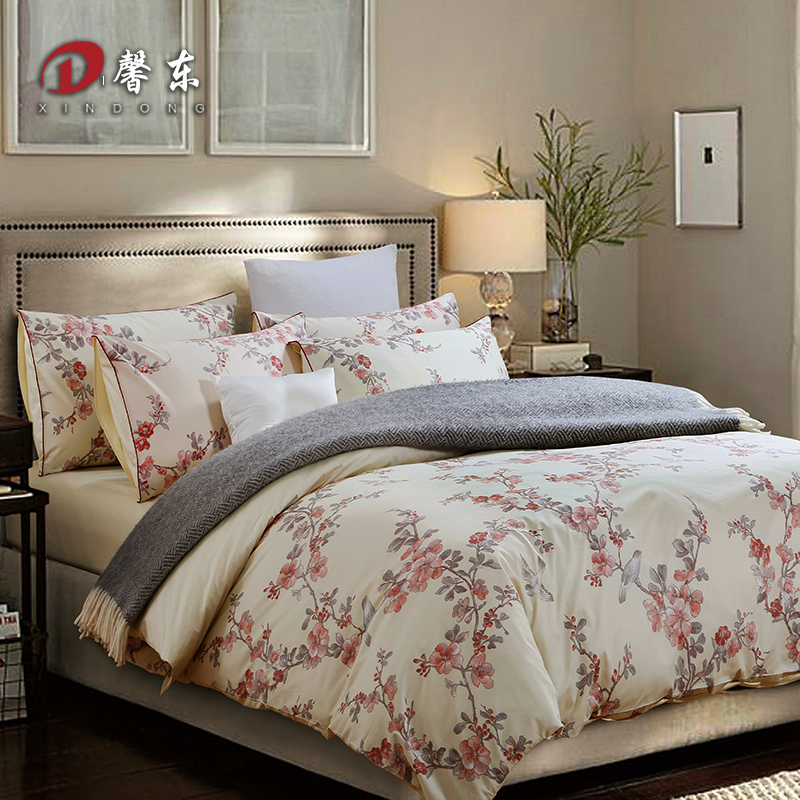 Western Floral Satin Bedding Set Luxury 100% Egypt Cotton Bed Set King Queen Size Bed Linen Duvet Cover Set Bedsheet Pillowcases