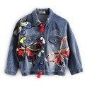 2016 New Autumn And Winter Women Basic Coats Embroidered Patch Tassel Female Jacket Fashion Jean Jacket Oversized Denim Jackets