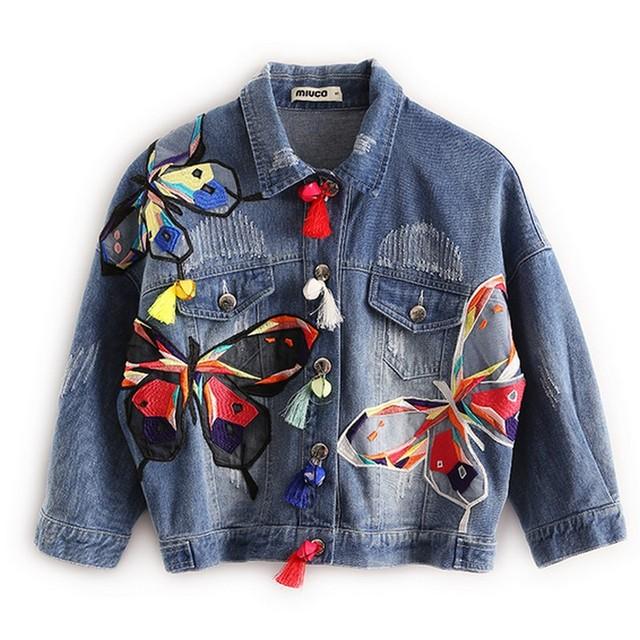 2016 Novos Outono E Inverno As Mulheres Básico Coats Patch Bordado Borla Feminino Jaqueta Jaqueta Moda Jean Jaquetas Jeans de Grandes Dimensões
