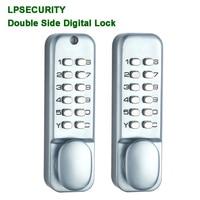 Double side lock digital password code lock pushbutton keypad keyless lock Garden wrough iron apartment door lock smart look
