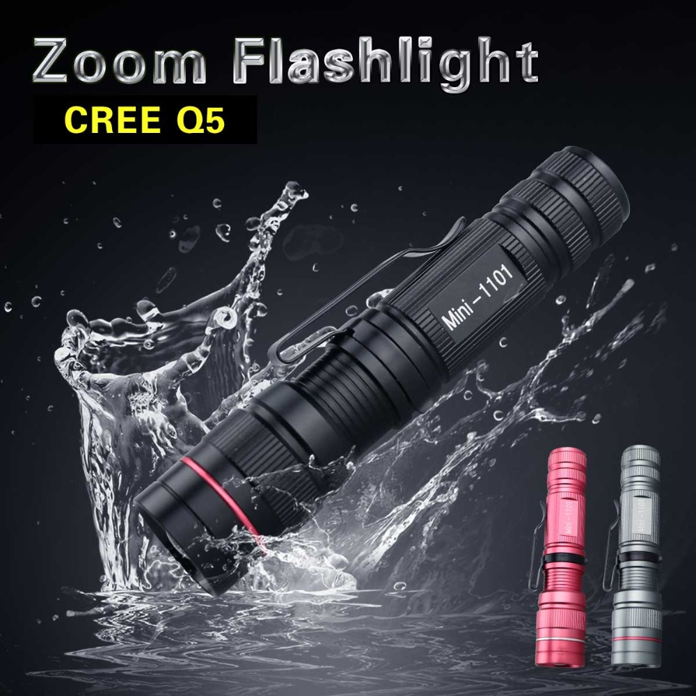 Zoomable CREE Q5 LED Flashlight Torch Zoom Lamps Lights 3 Modes Rainproof Black