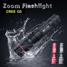 CREE Q5 Led Flashlight Torch 3 Modes Zoomable Adjustable Waterproof Mini Led Lamp Flashlight 3 Colors For Camping Cycling(China)
