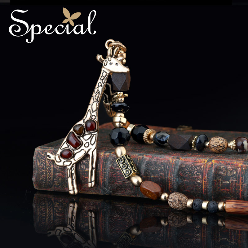 Special New Fashion Natural Stone Long Necklaces & Pendants Lovely Animal Ceramic Maxi Jewelry Gifts for Women S1611N