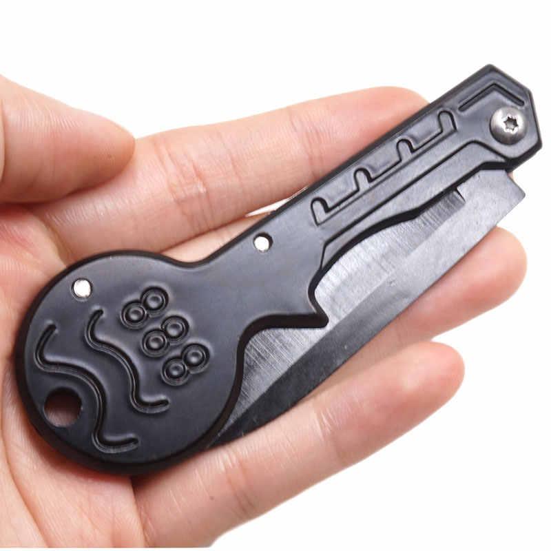 Mini portátil dobrável faca chave corrente multi tático bolso faca chaveiro ao ar livre ferramenta de acampamento aço inoxidável edc natal
