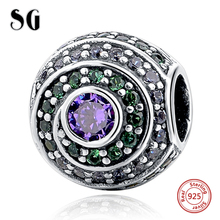 Silver Galaxy Color Zirconia Round Fit Authentic pandora Charm Bracelet Sterling 925 Original Beads For Women Jewelry