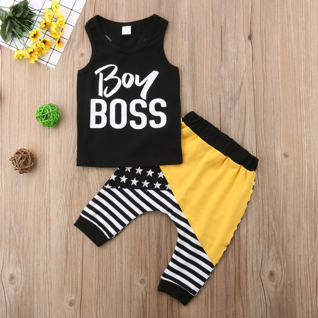 2018 Brand New Newborn Infant Baby Boys Summer Clothes 2PCS Sleeveless Letter Black Vest Tops Striped Patchwork Harem Pants 0-4Y