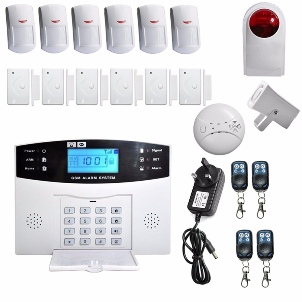 LESHP Security alarm set LCD Wireless Gsm Autodial Sms House Office Security Thief Intruder Alarm With Wireless Outdoor Siren lcd security wireless gsm autodial home office burglar alarm system set