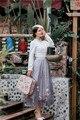 2016 Mujeres falda Otoño Invierno Vinatge Retro de Cintura Alta Floral Bordado Midi Faldas Faldas