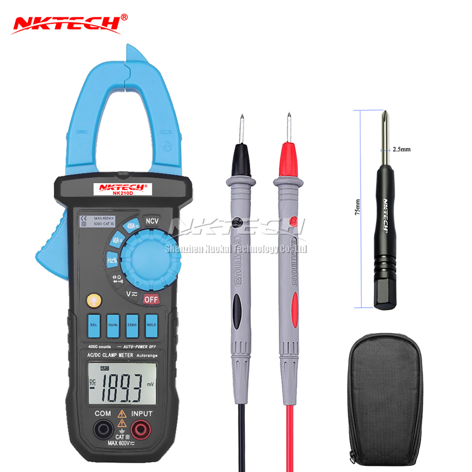 NKTECH Digital Clamp Meter NK210D NCV Multimeter Auto Range AC DC Current Voltage Resistance Capacitance Frequency Tester 3999 bside auto range digital clamp meter 6000 counts dc ac 600a 600v resistance capacitance frequency temperature ncv multimeter
