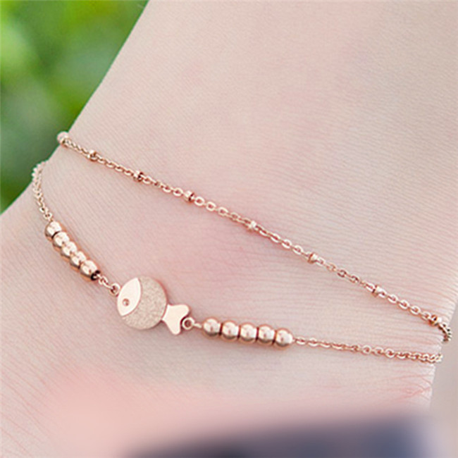 Sold Ind. West Coast Jewelry Shamrock and Ball Dangling Charm Rose Gold Stainless Steel Anklet//Bracelet