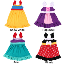 YOFEEL Little Girls Dress Princess Mermaid Arie Snow White Rapunzel Minnie Kids Cosplay Costume Birthday Cotton Dresses