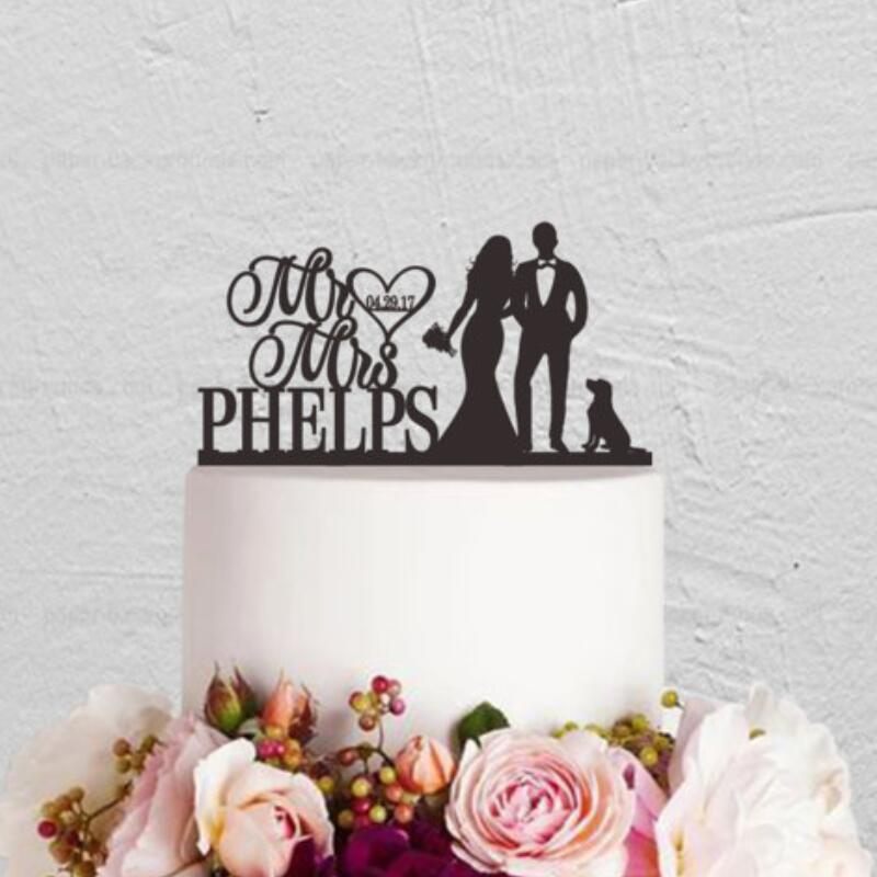 Bride And Groom With Dog And Last Name Cake Topper