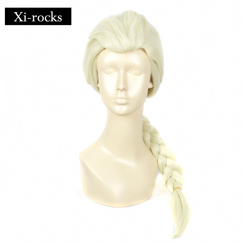 3022 Xi rocks 30inch Long Blonde wigs Synthetic Elsa Cosplay wig Halloween wigs for High Temperature Fiber Braid Styled Wigs