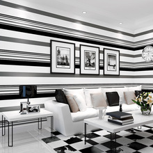 Modern minimalist High grade paper atmosphere fashion black and white gray stripe wallpaper for TV background film living room