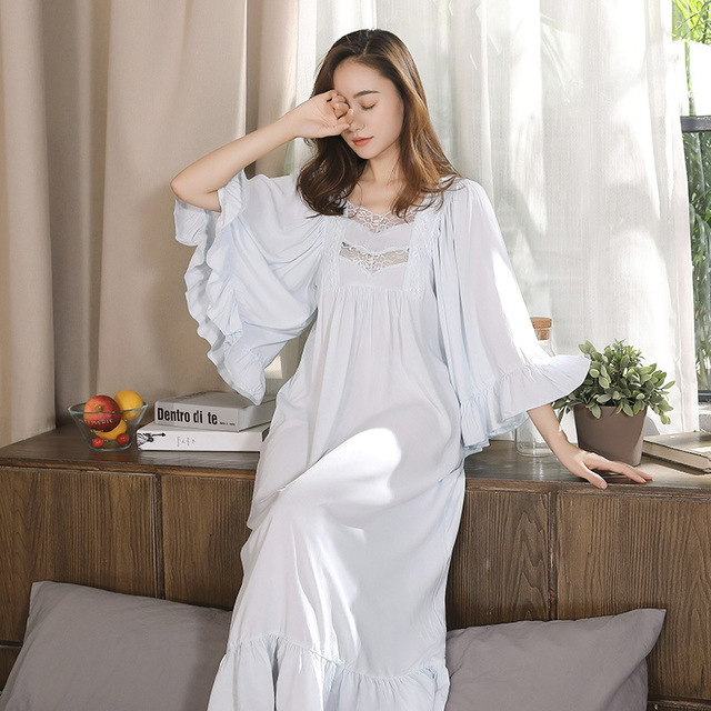 9f2e918d4c13ac9 Викторианский платье Винтаж кружева рубашки Для женщин осень оборками пижамы  с длинным романтическая ночная рубашка хлопок