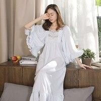 Victorian Dress Vintage Lace Nightdress Women Autumn Ruffles Sleepwear Long Romantic Nightgown Cotton Night Lounge Wear 2018 New