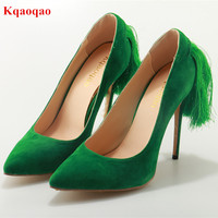 Chaussures Femme Ladies Green Suede Leather Fringe Stiletto High Heels Women Pumps Tassel Pointed Toe Slip