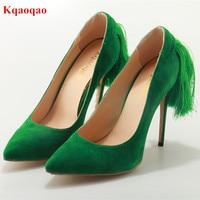 Chaussures Femme Ladies Green Suede Leather Fringe Stiletto High Heels Women Pumps Tassel Pointed Toe Slip