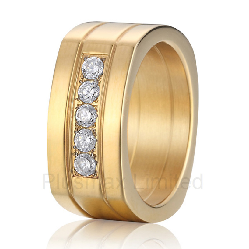 Anel de Casamento Proudly made in China high quality women gold color cheap pure titanium jewelry wedding band rings anel de casamento cheap pure titanium satin surface gold color colorful stone cheap pure titanium promise wedding band rings
