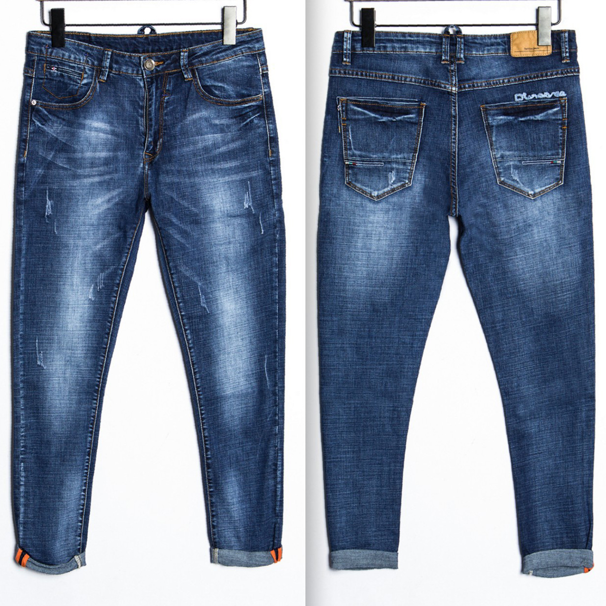 2017 New Arrival Nigrity Zipper Fly Slim Mid Straight Midweight Ankle length Pants Solid Pockets Jeans