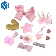 M MISM 1Set=10PCS Tiara Bowknot Hair Clips For Girls Pink Princess Headwear Set Accessories Hairpins Butterfly Cute