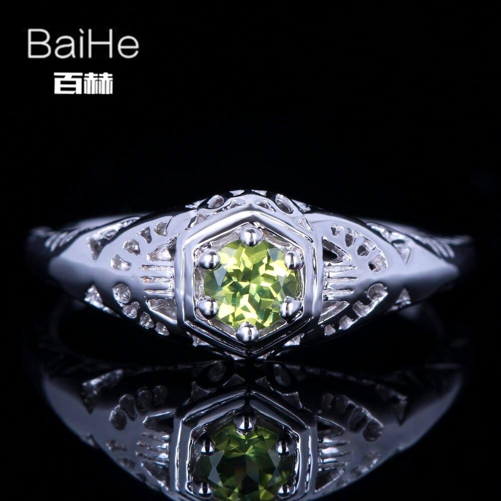 BAIHE solide 14 K or blanc (AU585) 0.23CT certifié vert impeccable 100% véritable péridot Engagement femmes à la mode Fine bijoux anneau
