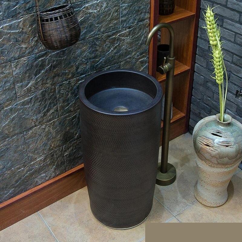balcony outdoor toilet washbasin integral basin floor all black pedestal wash basin freestanding vanity wash sink