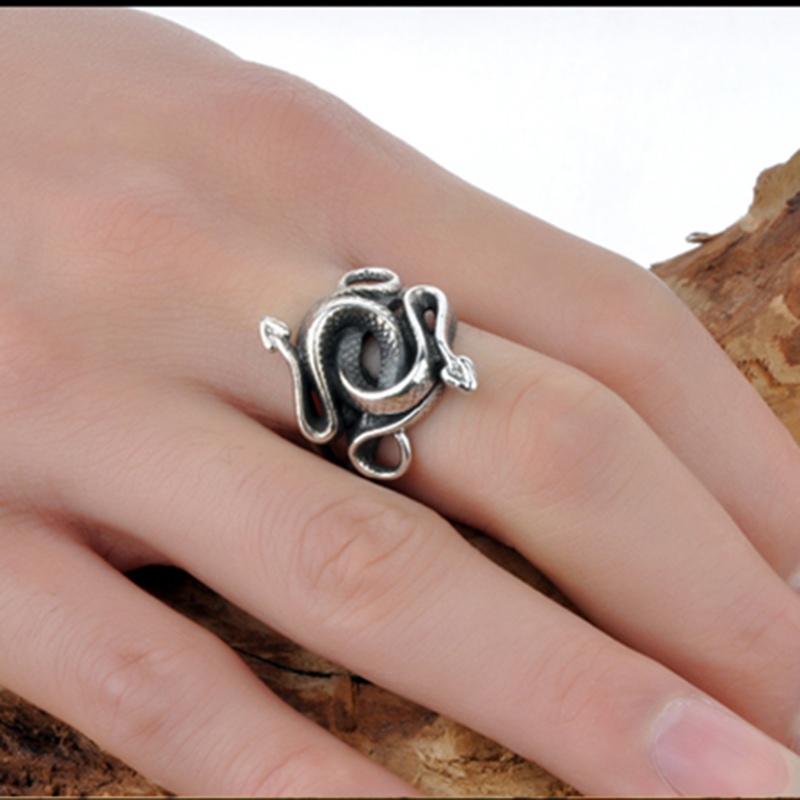 Wholesale Film Jewelry Nature Born Killers Ring Men 925 Sterling Silver Animal Snake Ring Size 7~12 for Adult Gift