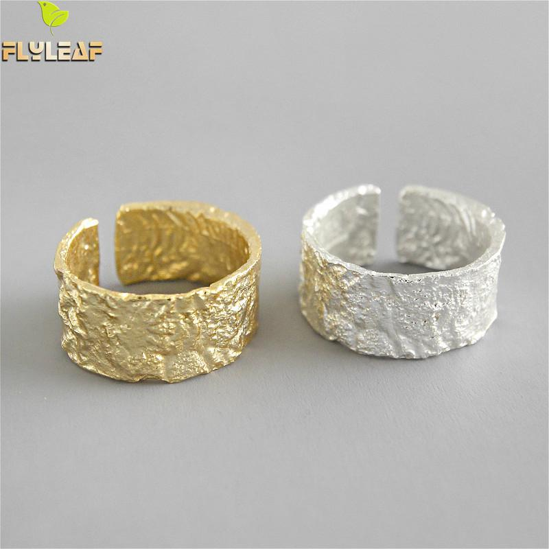 Flyleaf 925 Sterling Silver Rings For Women Irregular Tin Foil Paper Pattern Wide Fashion Fine Jewelry Simple Open Ring Gold