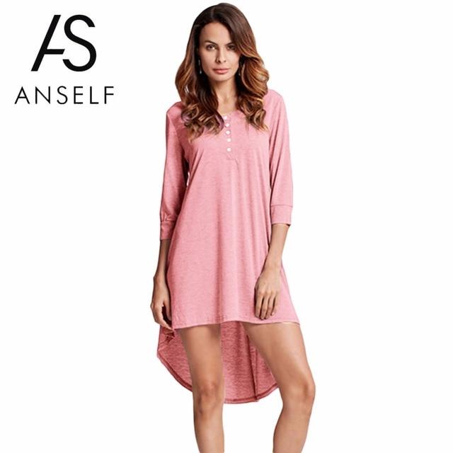17613b7af82 Women Mini Dresses Plus Size 3XL 4XL 5XL Basic Shirt Dress Button Front O  Neck Half Sleeve Irregular Hem Casual Dress female