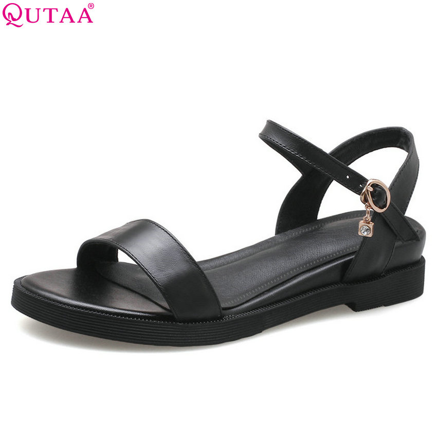 QUTAA 2018 Women Sandals Black PU Leather Fashion Women Shoes Platform Square Low Heel Round Toe Women Sandals Size 34-39