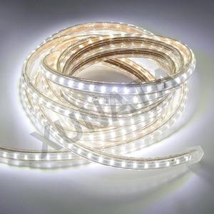 Image 4 - 220V LED Light Strip 3014 SMD Waterproof 120LEDs/m Outdoor Rope LED Strip Light White/Warm White/Blue EU Power Switch plug