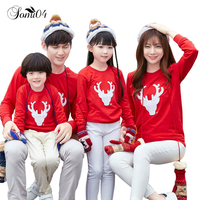 New Family Matching Outfits Clothes 2017 Autumn Winter Christmas Deer Cotton Kids Baby And Mom Dad