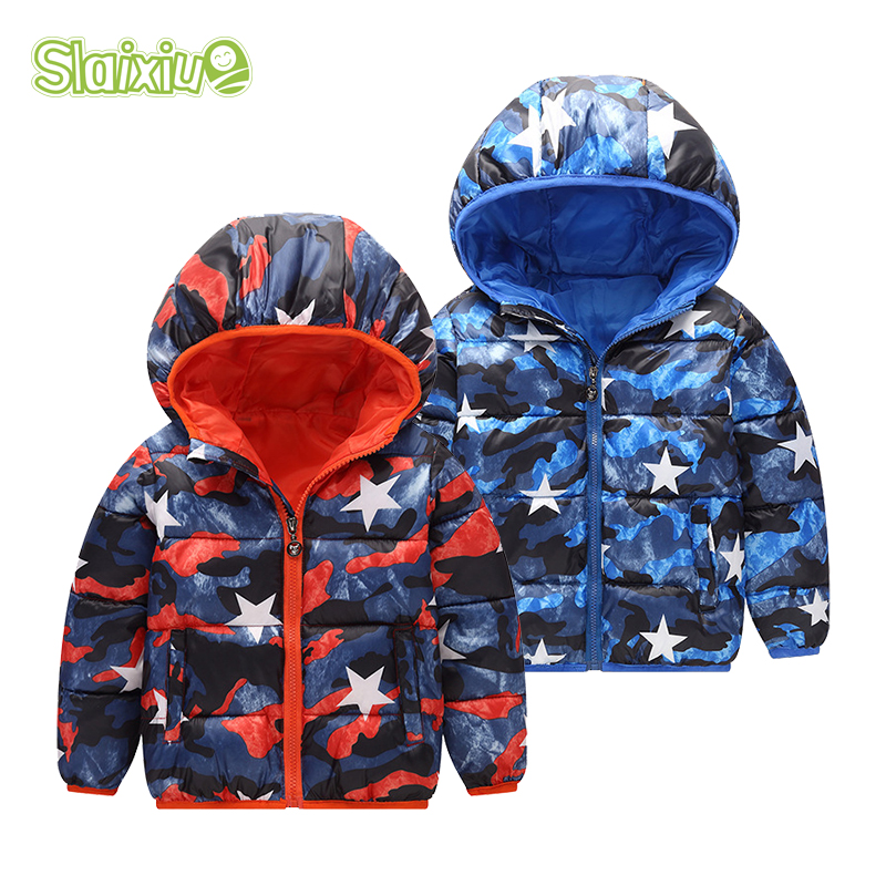 SLAIXIU Cartoon Winter Jacket Kids Coat Warm hooded Down Jackets Teens Children Clothing Boys Girls Coats Windproof Outerwear danmoke fashion patchwork boys jacket outwear warm hooded winter jackets for boy girls coat children winter clothing boys coat