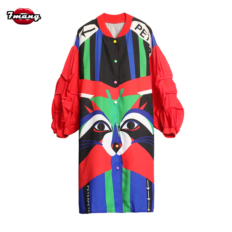 7mang 2018 new women autumn cute contrast color cartoon printing lantern sleeve long loose   trench