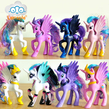 Lensple 14cm PVC Unicorn Princess Luna Celestia Rainbow Horses Action Figures Kawaii Unicorn Girls Best Friends