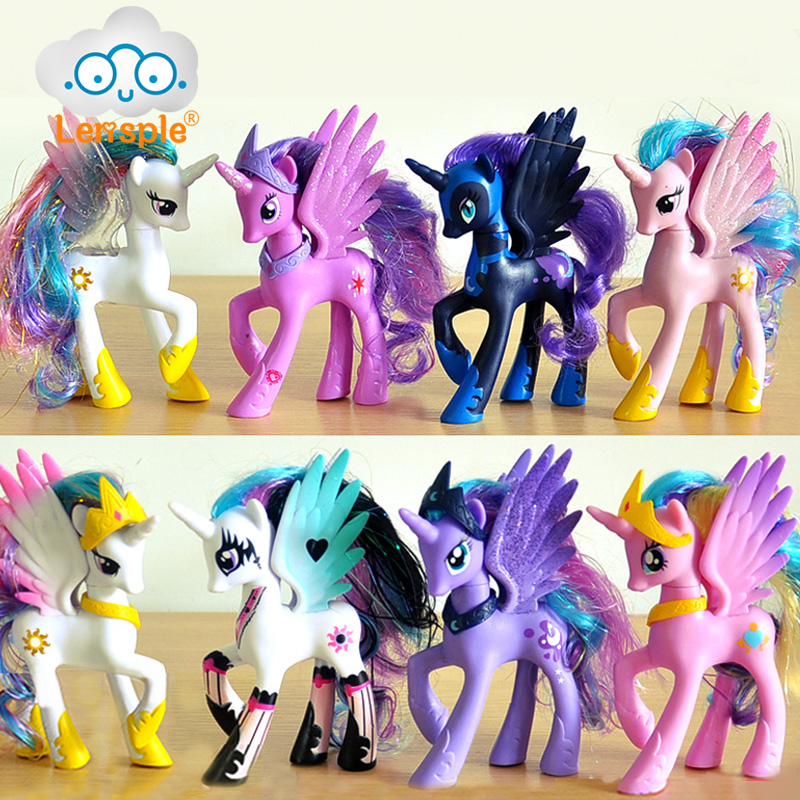 Lensple 14cm PVC Unicorn Princess Luna Celestia Rainbow <font><b>Horses</b></font> Action <font><b>Figures</b></font> Kawaii Unicorn Girls Best Friends Gifts Doll <font><b>Toys</b></font> image