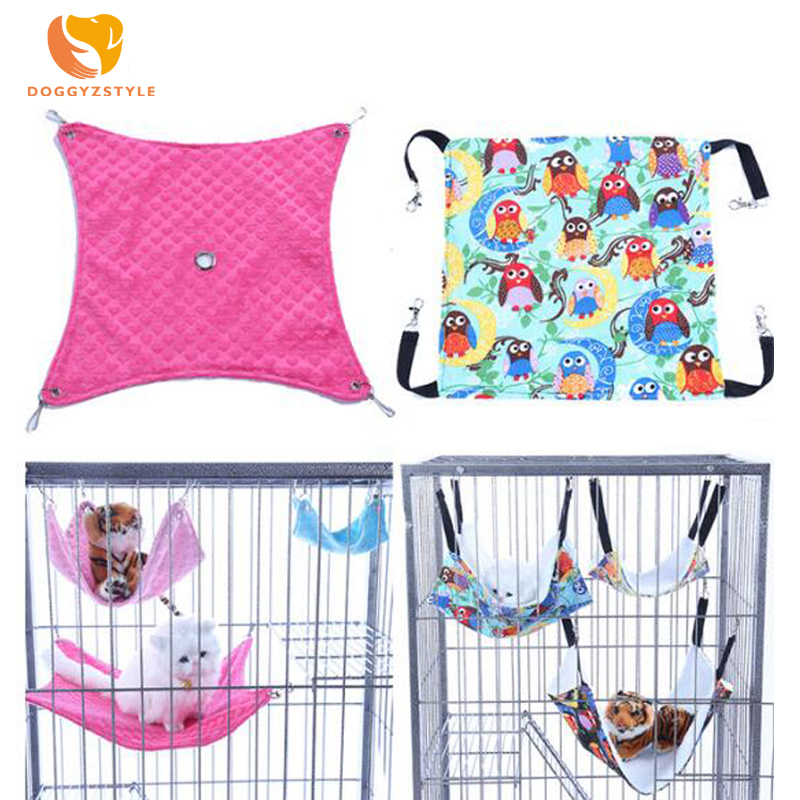 2 Styles Warm Flannel Hamster Chinchilla Embossed Owl Printed Hammock Guinea Pig Rabbit Hanging Bed Cage Accessories DOGGYZSTYLE